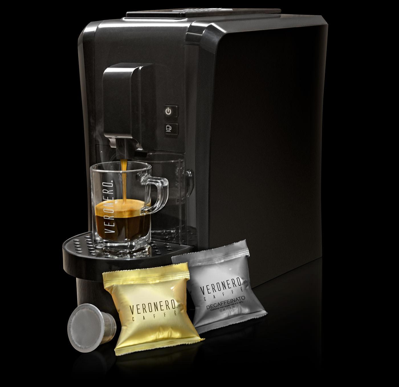 macchina da caffè + caffè in caspule veronero compatibili con macchine nespresso + tazzine in vetro